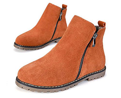 Wealsex Bottes Plates Suédé Automne Hiver Fermeture Eclair Boots Chaudes Femme Brun