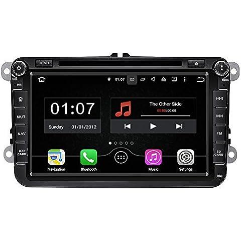 YINUO 8 Pollici Android 5.1.1 Doppio DIN in precipitare Quad Core 16GB 1024x600 capo unità di navigazione GPS con Bluetooth Per VW/SKODA - Quad Capo