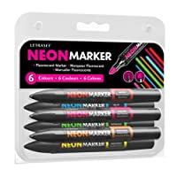 Letraset NMSS1 Neon Marker Set (6 Fluorescent Colours)