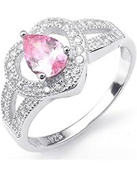 KONOV Joyería Anillo de mujer, Corazón, Circonita Plata de ley 925, Color rosa plata (con bolsa de regalo)