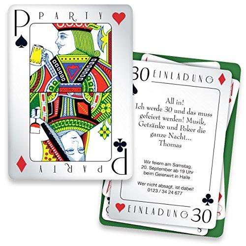 Geburtstag - Poker | 40 Stück | Inkl. Druck Ihrer persönlichen Texte | Individuelle Einladungen | Karte Einladung (Spielkarte Spiele)