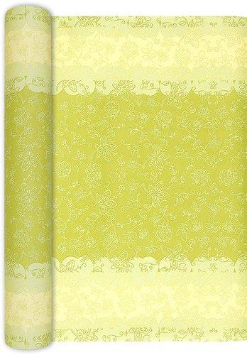 Unbekannt Tischläufer Rolle Lara grün/Blumen/Airlaid/Tischband/Frühling/Ornamente/Party/Fest/Feier 40cm x 4,90m (Blumen Tischläufer)
