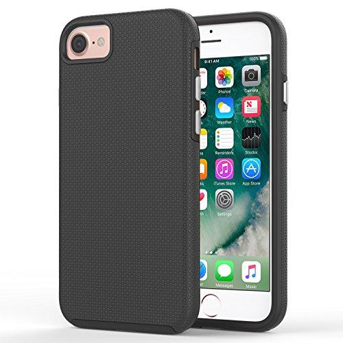 MoKo iPhone 8 / iPhone 7 Hülle - [Anti Fallen Serie] Silikon + Hart Polycarbonat Protector Phone Case Handy Schutzhülle Schale Bumper für Apple iPhone 8 / 7, Magenta Schwarz