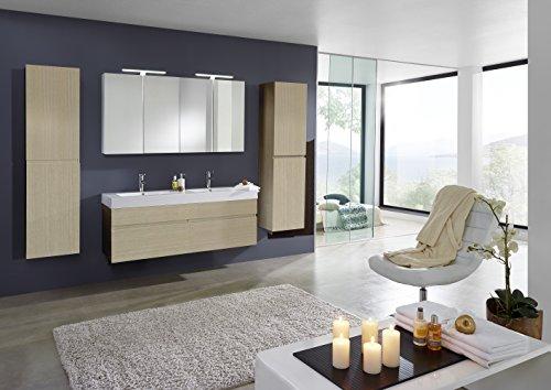 Bad11® - Badmöbelset PROMETHEUS Deluxe - 4 teilig im Farbton Sonomaeiche matt mit Doppelwaschbecken und 2 x Spiegelschrank und 2 x Hochschrank Farbauswahl