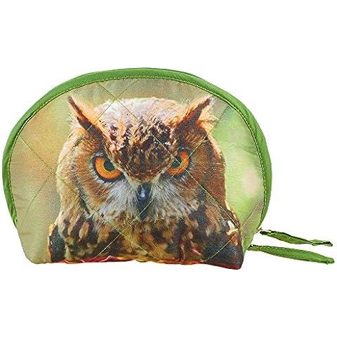 Indiano Digital Graphic Owl Volto Wristlet Borsa - Adorabile stampa all-over - trapuntato in poliestere (Stampa Trapuntato Borsa)