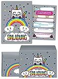 JuNa-Experten 12 Einladungskarten zum Kindergeburtstag für Mädchen Katze-Einhorn incl. 12 Umschläge / Einladungen / schöne und Bunte Geburtstagseinladungen (12 Karten + 12 Umschläge)