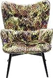 Kare Design Sessel Vicky Velvet Dschungel, samtiger Loungesessel, TV-Sessel mit dunklem Holzgestell, Grün (H/B/T) 92x59x63cm