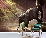 AJ WALLPAPER 3D Elefanten - Baby Spielen 707 Tier Tapeten Drucken Abziehbild Deko Innen Wandgemälde Selbstklebend Tapete DE Sunday (Vinyl(KeinKleber&abnehmbar), 【 82'x58'】 208x146cm(BxH))