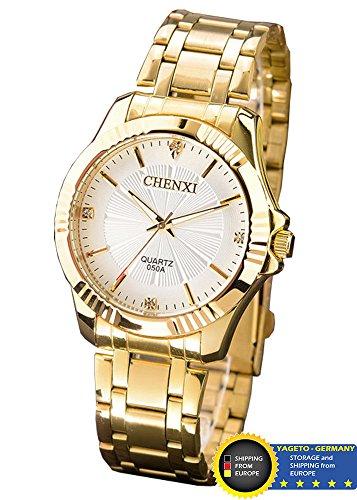 Chenxi Herrenuhr, Analog Quarz, Edel, Elegant, Luxus, Business Uhr, Edelstahl, Gold mit weißem Zifferblatt (weiß)