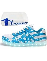 (Presente:peque?a toalla)Alto-Top Negro EU 37, 7 Luminosos moda Flashing Glow de Zapatos la Deportivos Sneakers JUNGLEST? Up Light LED Deporte de Ca