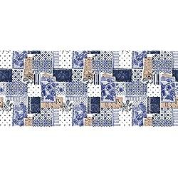 2,5metros (250x 137cm) vinilo mantel rectangular azul floral Patchwork, PVC se limpia con un paño húmedo textil con 8plazas tamaño (230)