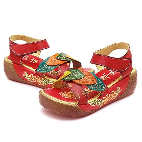 Socofy Sandalias de Las Mujer del Verano Elegantes Zapatos de Tobillo de Cuña Flor de la Vendimia Colorida Sandalias Cómodas del Desgaste Zapatillas de Deporte Planas Ocasionales de los folkways