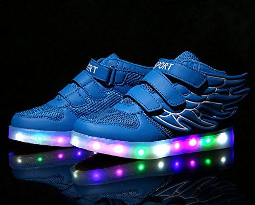 Dayiss Unisex-Kinder Jungen Mädchen 7 Farbe USB Aufladen LED Leuchtende Sportschuhe Hohe Sneakers Klettverschluss Turnschuhe Mit Flügel Blau