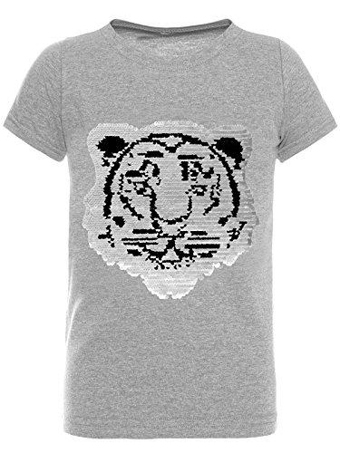 BEZLIT T-Shirt Jungen Wende-Pailletten Tieger Motiv 22719 Grau Größe 116