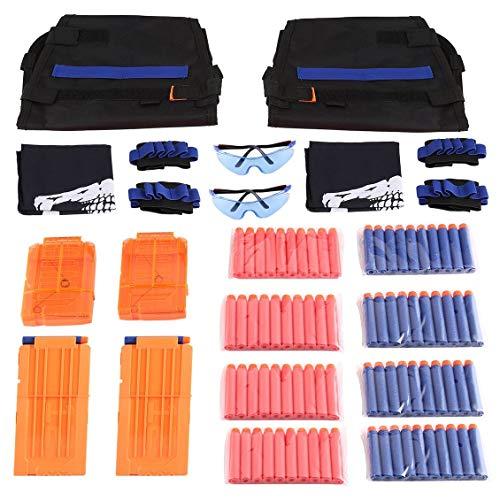 ForceSthrength Kit de Chaleco táctico de 2 Sets con muñequeras, Gafas, máscara y 40 Balas