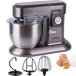6,5 Liter mit 1200W Küchenmaschine, 10 Geschwindigkeitsstufen sufenlos regelbar und Pulse Taste3 Aufsätze und Spritzschutz, Rührgerät Knetmaschine Teigkneter