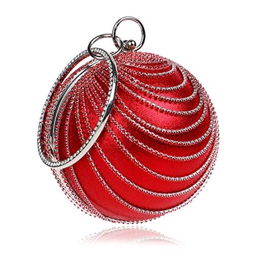 Borse Sera Il nuovo Wild palla rotonda Borsetta donna Borsa serale Red