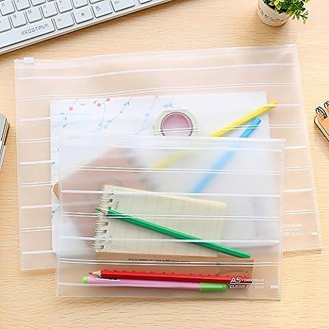 Ya Jin 5x Scrub Line Wasserdichte Datei Tasche Dokumente Tasche Reißverschluss Büro Schulbedarf A5 weiß