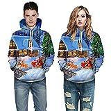 TianWlio Pullover Herbst Männer Herren 3D Gedruckt Langarm mit Kapuze Hoodie Tops Bluse Sweatshirt Weihnachts Pullover Blau S/M/L/XL/XXL/XXXL