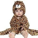IFLIFE kuscheliger Frottee Bademantel mit Tiermotiven | Babyhandtuch mit Kapuze | lustiges Kapuzenbadetuch (Leopard)