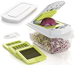 Brieftons QuickPush Food Chopper (BR-QP-02): Strongest & 200% More Container Capacity, 30% Heavier Duty, Onion Chopper, Kitchen Vegetable Dicer, Fruit and Cheese Cutter, with 3 Dicing Blades & Lid