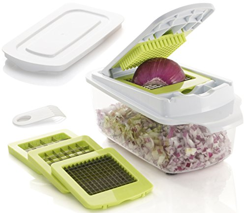 brieftons quickpush Food Choppers, weiß / grün, 3 Blades (Farberware 12 Edelstahl)