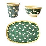 Rice - Set de Repas 3 pièces, Assiette Plate, Petit Bol et gobelet en mélamine,...