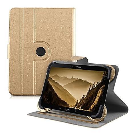 """kwmobile Housse 360° pour 10"""" Tablet étui avec support - Housse de protection tablette pochette cuir synthétique avec fonction support en doré"""
