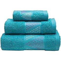 Sancarlos Juego de toallas bordadas, Algodón, Azul 3 piezas