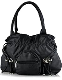 Mango Star Women's Black Synthetic Leather Handbag