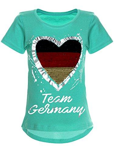 BEZLIT Deutschland Mädchen Wende-Pailletten WM 2018 Fan Fussball T Shirt 22512 Türkis Größe 116
