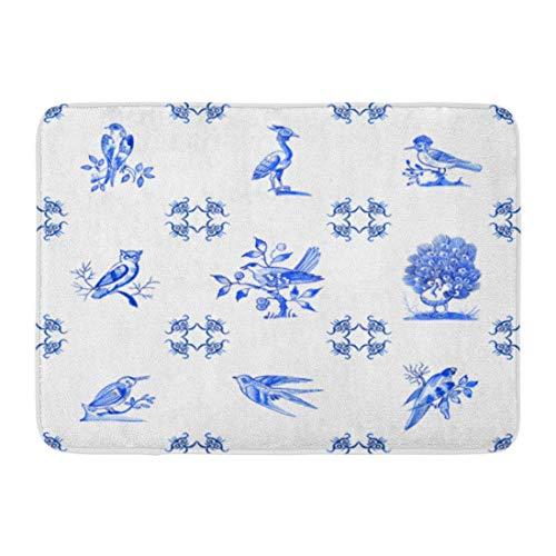 Sheho Rutschfeste Fußmatten Aquarellmuster Delfter Blau Aquarell Traditionelle holländische Fliesen Bilder von Vögeln Kobalt auf Porzellan Durable Home Decor Mat 23,6 x 15,7 Zoll