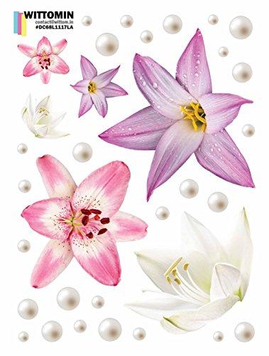 Vinyl Aufkleber Blume Lilie Lily Lila Perle Klein