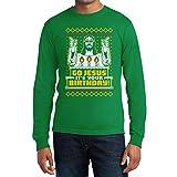 Go Jesus Hässliches Weihnachts-Motiv Langarm T-Shirt Medium Grün