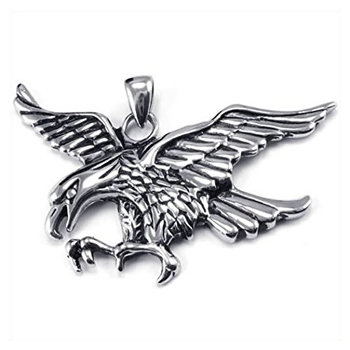 konov-jewellery-mens-stainless-steel-eagle-hawk-pendant-necklace-colour-silver-black-26-inch-chain-w