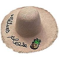 Kakoop - Sombrero de paja para mujer, diseño de alfabeto bordado, ala ancha, plegable, protección UV, transpirable, color rosa, tamaño 56-58cm