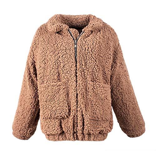Chinchilla Pelz Jacke (Damen Winter Warm Oversize Weste Boy Friend Style Mantel Shaggy Cardigan Solid Baggy Outwear Damen Lässige Sherpa Jacke mit Taschen)