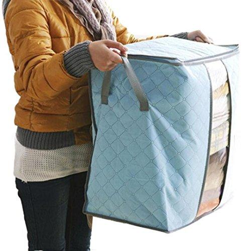Caja de lona plegable para almacenamiento, Venta caliente caja de almacenamiento portátil organizador no tejida bolsa de almacenamiento LMMVP (Cielo azul, 48*30*50cm)