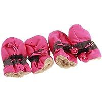 Urijk 4 Stück wasserdichte Hundeschuhe Anti-Rutsch Haustier Schuhe Warme Hunde Stiefel Pfotenschutz für Kleine Mittel…