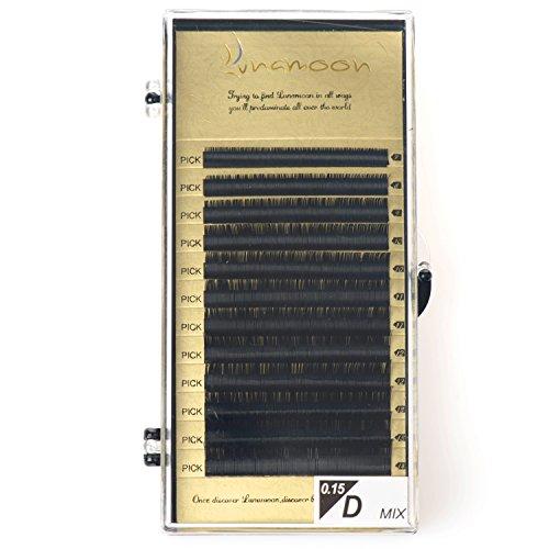 Lunamoon ciglia finte naturale falsi ciglia extension lunghe nero ciglia fatto a mano per il trucco d-curl 0.10mm 0.15mm 7-14mm (d x 0.15mm)