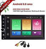 Freeauto Android 8.0 Autoradio GPS Universal 2 Din 7 Pulgadas (Octa Core, 4GB Ram, 32GB Rom) Soporta 4K Vídeo / Mirror-link / Subwoofer / Mandos de Volante / 4G / WiFi / USB / SD / Bluetooth / AV-OUT