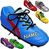 Unbekannt 2 Stück _ 3D Effekt - Spardosen - inkl. Name - Fußballschuh / Sportschuh - Schuh - mit echten Schnürsenkel ! - bunter Farb-Mix - stabile Sparbüchse aus Porzel..