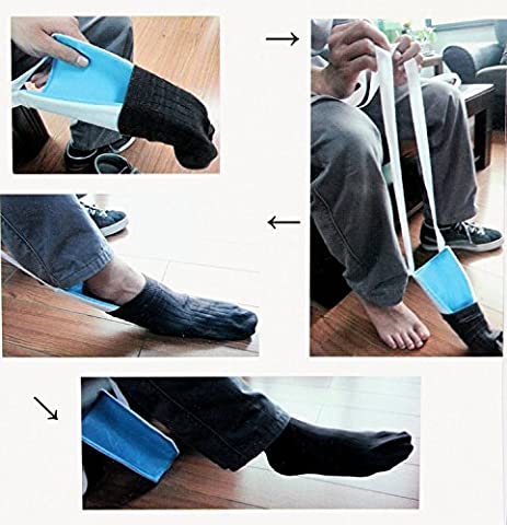 Sock Aid - Pack of 1 Helping Hand Sock Aid To Help Elderly People Or People With Difficulties In Bending The Back And Knees; Comes In Blue And White