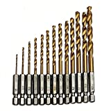 PIXNOR 13 Stück Titan-Nitrid HSS Bohrer mit Sechskantschaft Satz 1,5 mm bis 6,5 mm