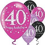 Feste Feiern Geburtstagsdeko Zum 40 Geburtstag | 6 Teile Luftballon Pink Schwarz Violett Party Deko Happy Birthday