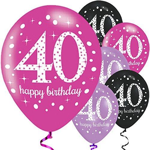 Feste Feiern Luftballon Deko 40. Geburtstag   6 Teile Zahlenballon Ballon Pink Schwarz Lila metallic Helium Party Set Happy Birthday 40 Jubiläum