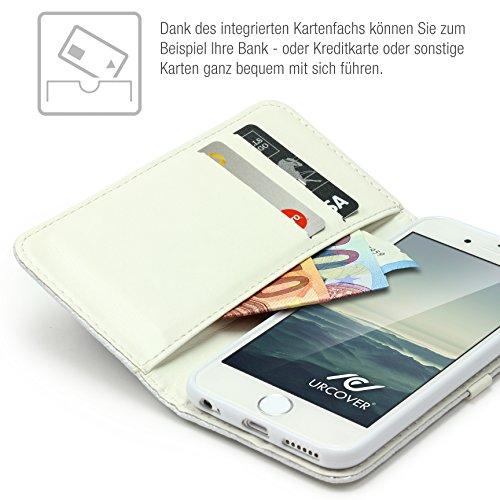 URCOVER Wallet Case Apple iPhone 6 Plus/6s Plus Ultra Slim | Custodia Protettiva Portafoglio Elegante Funzione Supporto in Nero | Cover Libro Chiusura Magnetica Porta Carte Bianco