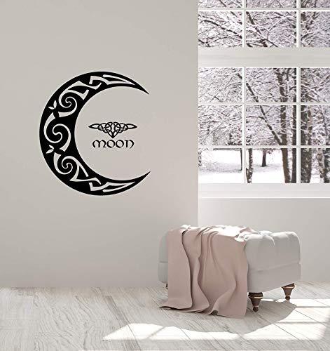 yiyiyaya Vinyl Wandtattoo Celtic Moon Ornament Crescent Schlafzimmer Home Interior Aufkleber Wandbild57 * 63 cm