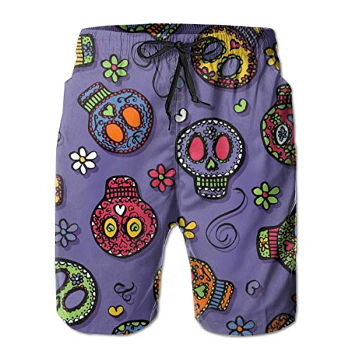 Dress rei Sugar Skulls (on Purple) Men's Swimming Trousers Quick-Drying Beach Polyester Shorts -