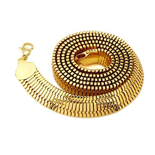 NYUK - Collana componibile da guerriero, con catena a maglia grumetta larga e pesante, da uomo, in ferro placcato in oro 18k, misura grande, lunghezza 76,2 cm